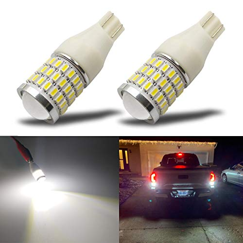 iBrightstar Newest 9-30V Super Bright Error Free T15 912 W16W 921 LED Bulbs with Projector replacement for Back Up Reverse Lights, Truck Cargo Lights, 3rd Brake Lights, Xenon White ()