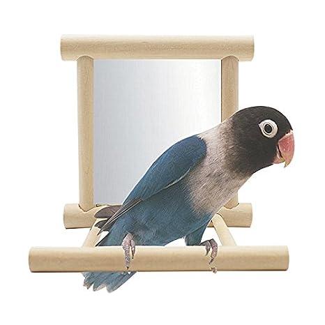 Petacc Juguete Columpio de Aves Jaula de Madera de Loro Juguete de Madera para Colgar Pájaros con Espejo, Mejor para Loros, Pericos, Cacatúas y Cockatiels: ...