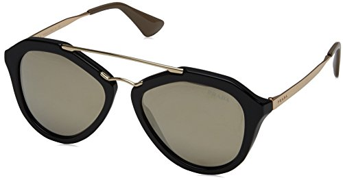 Prada Women's 0PR 12QS Black/Light Brown/Mirror - Women Prada Eyewear