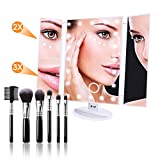 tri fold makeup mirror with lights N-LIfe Lighted Makeup/Vanity Mirror Gifts for Women 22 LED Lights Touch Screen Tri-Fold 3X/2X Magnification Spot Mirror 180° Rotation USB With Free Brushes Portable for Comestic Tabletop Bathroom