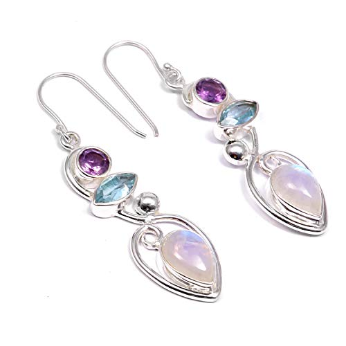 (❤️❤️ Natural Rainbow Moonstone, Blue Topaz, Amethyst ️Dangle Drop Earrings ❤️❤️ | 925 Sterling Silver | Handcrafted Charm Fashion Jewelry | Gift for Women,Ladies,Girls |Round,Marquise,Pear Shape)