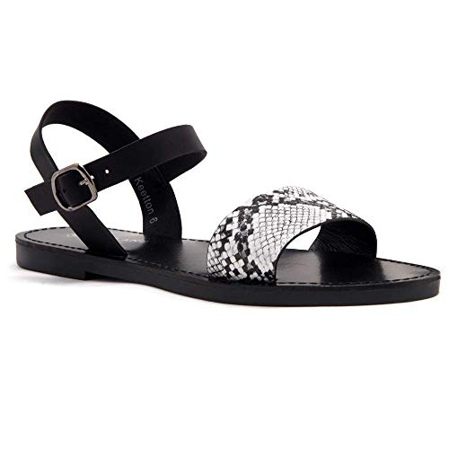 Herstyle Women's Keetton Open Toes One Band Ankle Strap Flat Sandals BlackWhiteSnk/Black 8.5