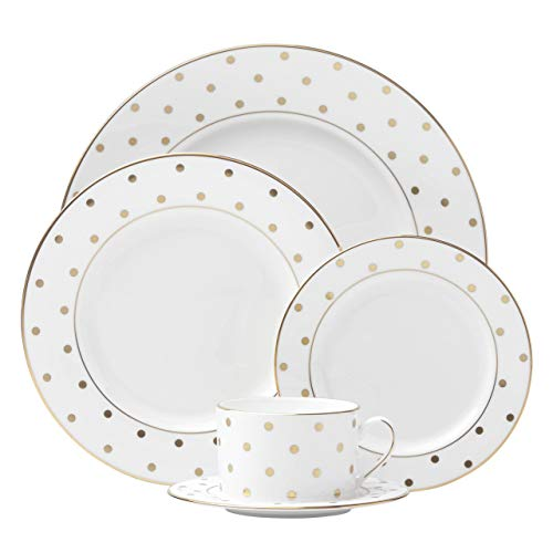 kate spade new york Larabee Dot Gold Dinnerware Set - White - 5 pc