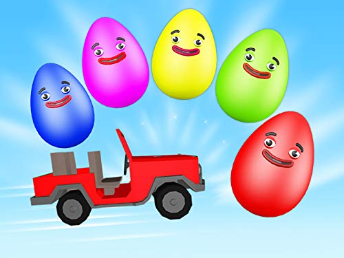 Learn colors with eggs, stairway and car