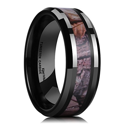 King Will 8mm Mens Black Tungsten Carbide Ring Camo Camouflage Comfort Fit Wedding Band (11.5) (Camouflage Wedding)