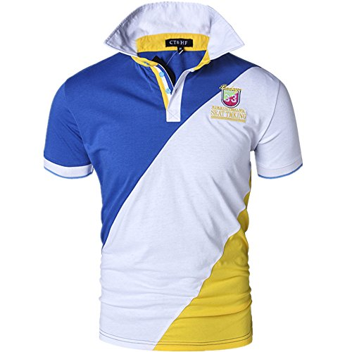 CT&HF Mens Summer Short Polo Shirt with Three Colors Combined