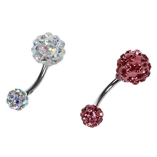 SODIAL(R) 2 boules de cristal strass anneau bague de nombril de ventre