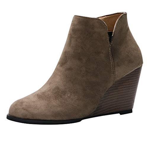 Emimarol Womens Ankle Boots Pointed Toe Faux Leather Stacked Low Heel Side Zipper Booties Khaki