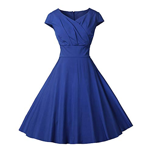 Big Clearance! Daoroka Retro 1950s Cocktail Party Dresses Vintage Swing Dress with Cap-Sleeves Fashion Floral Print A Line Pleated Dress
