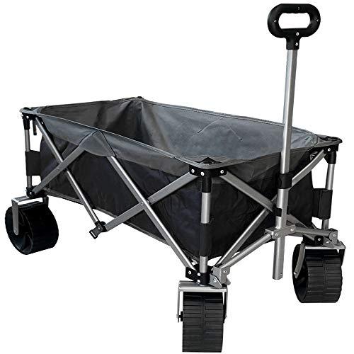 Eurmax Sports Collapsible Sturdy Steel Frame Garden Carts on Wheels Utility Beach Wagon Cart with Big Wheels,Bonus 8x8Ft Picnics Mat (Black & Gray)