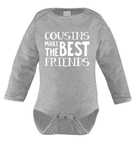 Cousins Make The Best Friends Infant Long Sleeve Bodysuit (Light Gray, Newborn) - Best Friend Infant Bodysuit