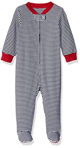 Amazon Essentials Baby Zip-Front Footed Sleep and Play, Navy Stripe, 0-3M