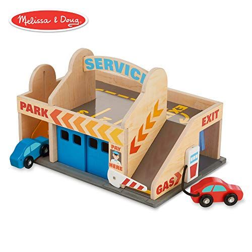 Car Race Wooden Doug - Melissa & Doug Service Station Parking Garage (Vehicles, Functional Elevator, Easy to Carry, 6 Pieces)