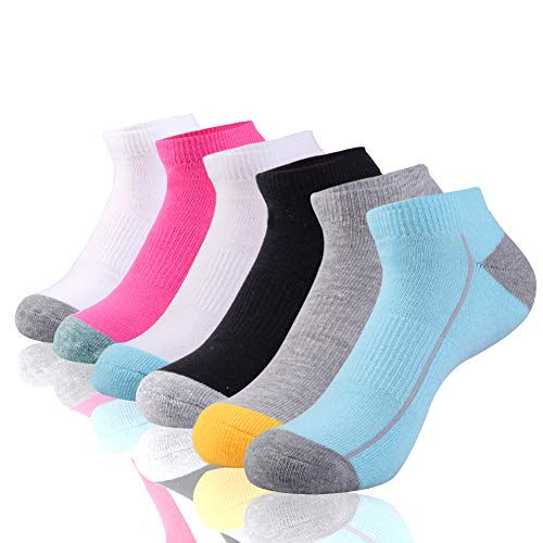 Womens Low Cut Ankle Athletic Socks Cushioned Running with Arch Support for Sports 6 Pairs,Sock Size 9-11,Multicoloured