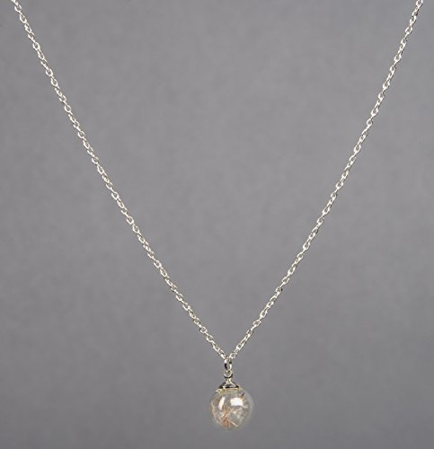 """Remember Making a Wish? Handmade Dandelion Seed """"Wishes"""" in Hand Blown Glass Pendant . Long Silver Elegant Style Necklace. Perfect for Bridesmaids Best Friends Daughters. Limited Supply."""
