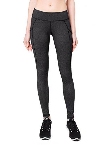 """Baleaf Women's Yoga Workout Leggings Side Pocket for 5.5"""" Mobile Phone Grey L"""