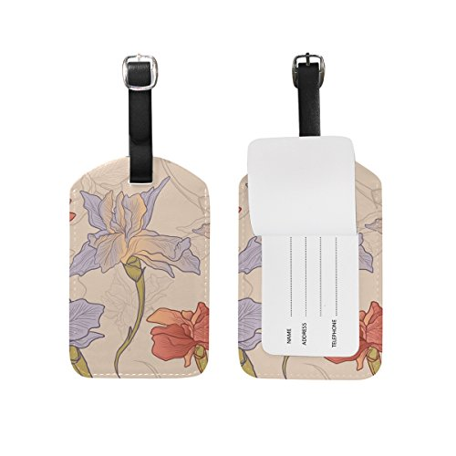 - Art Flower Travel Genuine Leather Luggage Tags ID Labels Holders(2 Pcs Set)