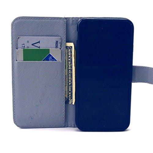 PowerQ [ para IPhoneSE IPhone 5S SE 5G 5 IPhone5 IPhone5S - X-2 ] PU Funda Serie bolsa Modelo colorido con bonito hermoso patrón de impresión Impresión Dibujo monedero de la cartera de la cubierta móv X-11