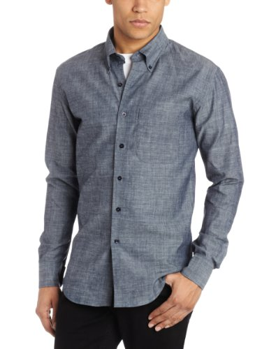 Naked & Famous Denim Men's Slim Fit Shirt, Lightweight Chambray, Large