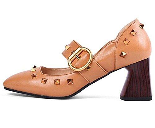 Frauen Schuhe aus echtem Leder Holz Blockabsatz Gürtelschnalle Nieten Mary Jane Größe 35 bis 42 yellow