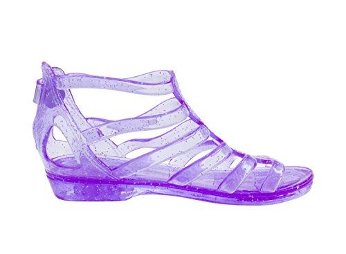 Sara Z Toddler Girls Translucent Glitter Ankle Gladiator Jelly Sandals 7/8 Purple -