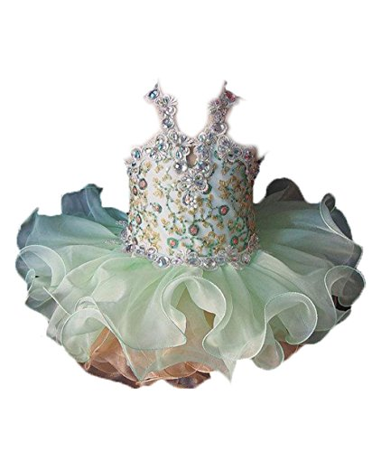 HSDJ Baby Girls Halter Lace Birthday Short Cupcakes Pageant Dresses 3T US Green