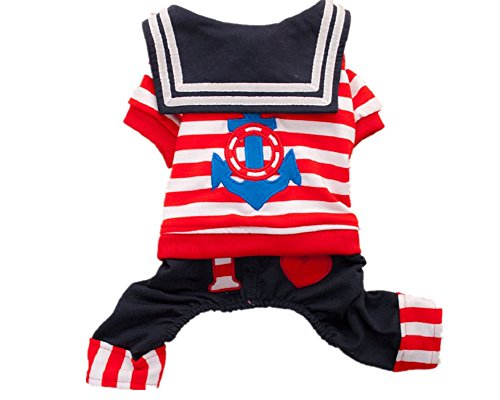 [Fully Striped Pet Costume Doggie Jumpsuit Dog Cat Clohtes Shirt Pajamas Comfy (L, red)] (Ragamuffin Costume)