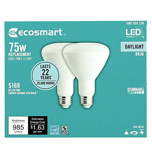 EcoSmart 75-Watt Equivalent BR30 Dimmable LED Light Bulb Daylight (4-Pack)