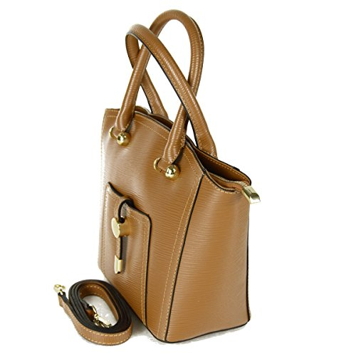 Borsa Donna A Mano In Pelle Stampata Colore Cognac - Pelletteria Toscana Made In Italy - Borsa Donna