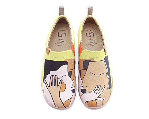 UIN Women's Kiss Canvas Couple Loafer Shoes Yellow (8) by UIN