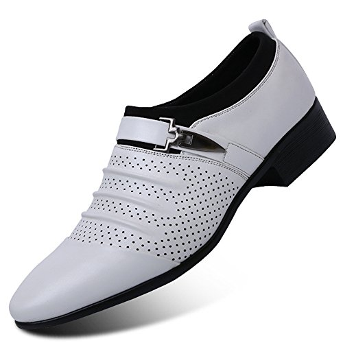 Blivener Heren Dress Schoenen Formele Oxford Slip Slip Schoenen Wit