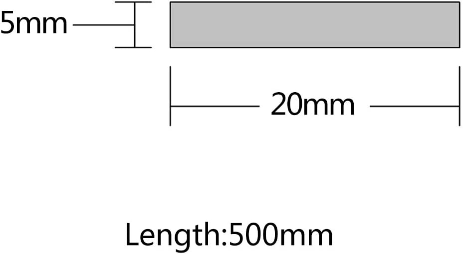 ,2mm x 20mm x 500mm 5 pieces JKGHK Flat Bar Aluminium Sheet Metal Strips,Various sizes,Length is 500mm