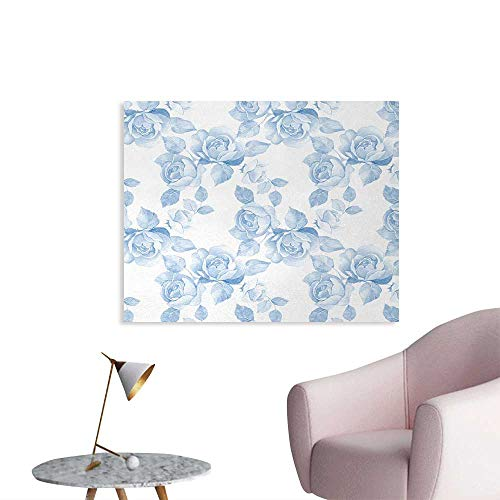 Tudouhoho Rose Cool Poster Faint Faded Floral Dreamy Branch Plant Fashion Pastel Spring Design Home Decor Home Decor Wall Soft Blue White W32 xL24 -