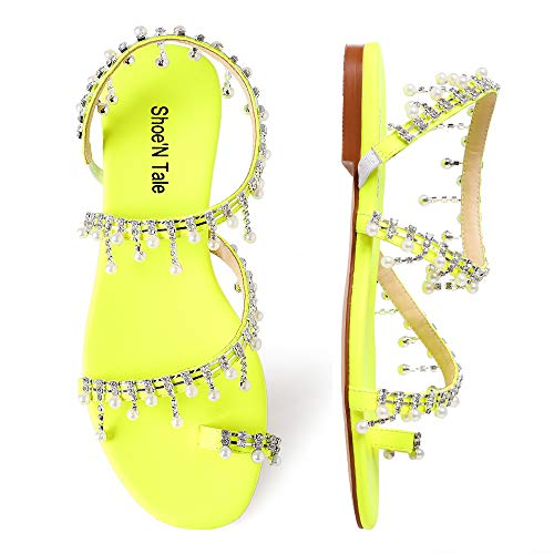 Shoe'N Tale Women Bling Rhinestone Pearl Flat Gladiator Sandals Toe Ring Dress Shoes (6.5 M US, Yellow-Silver Glitter)