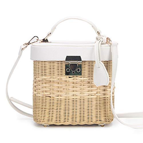 - Square Basket Straw Bag Women Summer Rattan Handbags Handmade Woven Beach Circle Bohemia Shoulder Bag
