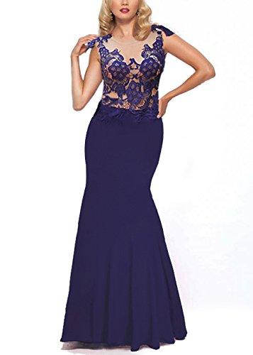 Bordado de las mujeres de encaje largo sirena formal vestidos de baile de fin de curso de la tarde Azul