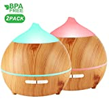 Essential Oil Diffuser, Avaspot 2 PACK 250ml Wood...