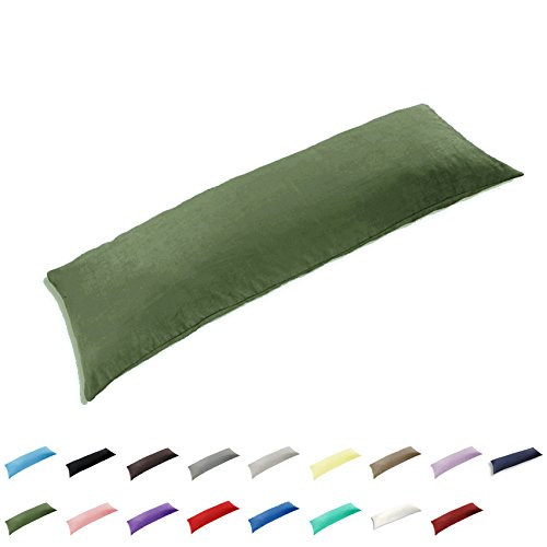 TAOSON 100% Cotton 300 Thread Count Envelope Style Body Pillow Cover Pillowcase Pillow Protector Cushion Cover Non Zippered Only Cover No Insert (Sage/Olive ()