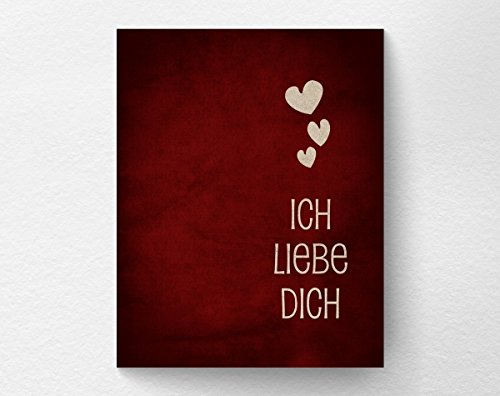 Ich Liebe Dich I Love You Print German Valentines Day Gift Wall Art Decor Anniversary Gift Red and White Inspirational Print Gift for Girlfriend or Boyfriend