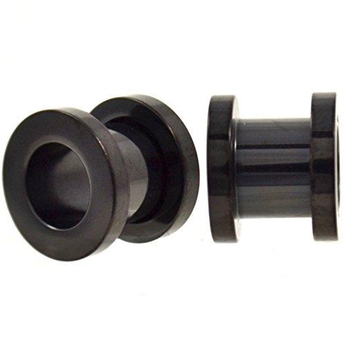 Black Titanium Plated Screw (Pair of Solid Black Titanium Plated Ear Tunnels Plugs Screw-On Gauges - 0G (8MM))
