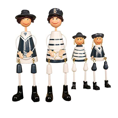 HXZ Creative Hanging Dolls Resin Ornaments Navy Style Cartoon Puppet Decorative Puppet Crafts Ornaments Gift Set (2 Large 2 Small)