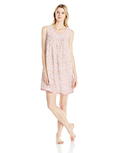 Aria Women's Cotton Jersey Short Nightgown, Multi Abstract Floral, L -