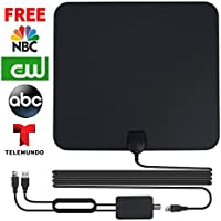 [Upgrade Version] Amplified HD TV Antenna Indoor Digital Amplifier Antenna Cable Booster 50 Mile Range Adjustable USB TV Antenna Adaptor with Detachable Amplifier Signal Booster-1080p-Free for Life