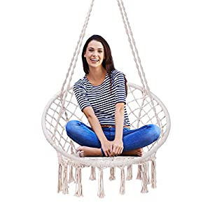 VIVOHOME Hanging Hammock Chair, 330 lbs Capacity for Indoor Outdoor, Patio, Deck, Yard, Garden, L31.5 x W23.6 x H53.1…