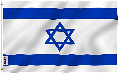 Jerusalem Flag - Anley Fly Breeze 3x5 Foot Israel Flag - Vivid Color and UV Fade Resistant - Canvas Header and Double Stitched - Israeli National Flags Polyester with Brass Grommets 3 X 5 Ft