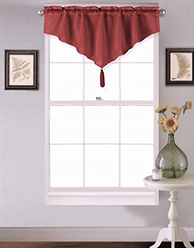 GorgeousHomeLinen (VINCE) 1 Burgundy Wine Ascot Faux Silk Rod Pocket Elegant Waterfall Window Small Valance with Decorative Tassel 40
