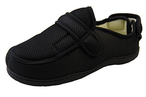 Footwear Studio Mens Womens Black Mesh Adjustable Velcro Orthopaedic Slippers UK 7-8