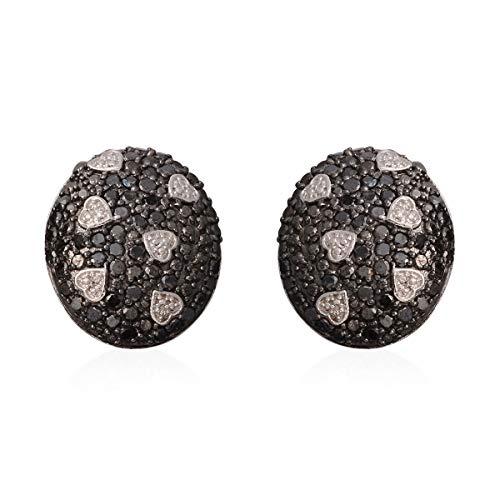 925 Sterling Silver Black Diamond Omega Clip Earrings Cttw 2.3