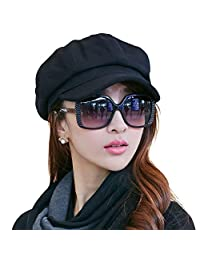 Ambysun Newsboys Cabbie Beret Cap Bakerboy Visor Peaked Winter Ivy Flat Hat for Women