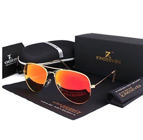 Gafas Mujer aviador Polarizadas Gafas Sol Gafas de mujer De Espejo de sol mujer Gafas espejo sol polarizadas clásicas piloto Naranja 1qwBEIEn